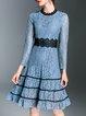 Blue Guipure Lace Elegant Stand Collar Midi Dress