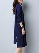 Royal Blue Slit Solid Long Sleeve Cardigan