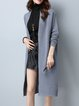 Polyester Solid Long Sleeve H-line Cardigan