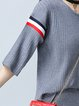Gray Casual Crew Neck Acrylic Paneled Top With Pants