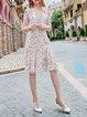 Pink Printed Casual Crew Neck Midi Dress
