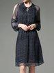 Navy Blue A-line Keyhole Cold Shoulder Midi Dress