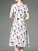 Casual Shorts Sleeve Floral Midi Dress