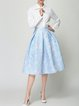 Light Blue A-line Girly Polyester Printed Midi Skirt