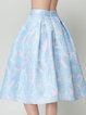 Light Blue A-line Girly Printed Midi Skirt
