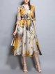 Yellow 3/4 Sleeve Printed Floral Midi Dress