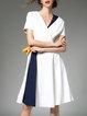 White Short Sleeve Polyester Color-block Surplice Neck Midi Dress