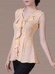 Yellow Sleeveless Ruffled Polyester V Neck Top
