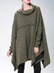 Asymmetric Army Green Cowl Neck Long Sleeve Solid Tunic
