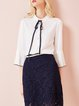 White Stand Collar Girly Blouse