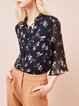 Floral Bell Sleeve Ruffled Girly Tops
