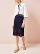 Navy Blue Solid Girly Lace Guipure Lace Midi Skirt