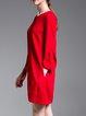 Party Zipper Crew Neck Long Sleeve Mini Dress