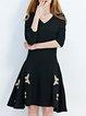 Plus Size Casual Half Sleeve Rayon Midi Dress