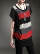 Short Sleeve Casual Color-block Crew Neck  Mini Dress