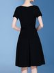 Black Simple A-line boat Neck Spandex Midi Dress