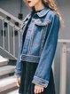 Denim Blue Crew Neck Cotton-blend Casual Brushed Coat