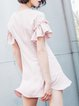 Frill Sleeve A-line Casual Polyester Ruffled  Mini Dress
