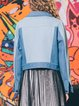 Blue Shirt Collar Long Sleeve Denim Color-block Coat