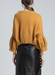 Camel Solid Polyester Balloon Sleeve Crew Neck Sweater