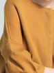 Camel Solid Balloon Sleeve Crew Neck Sweater