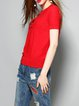 Red Knitted Shorts Sleeve Wool Blend Floral T-Shirt