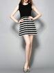 Stripes Color-block Casual A-line Sleeveless Knitted Midi Wool Dress