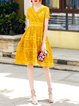 Yellow Short Sleeve A-line Surplice Neck Lace Midi Dress