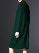 Green Knitted Plain Sheath Long Sleeve Sweater Dress