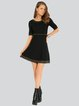 Black Casual Plain Knitted Sweater Dress