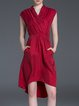 Burgundy Cupro Elegant High Low Wrap Dress