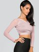 Gray V Neck Bandage Polyester Long Sleeve Cropped Top