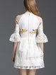 White A-line Embroidered Half Sleeve Floral Mini Dress