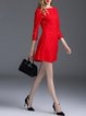 Red A-line Polyester Cocktail Paneled Mini Dress