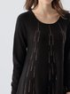 Black Casual Crew Neck Beaded Mini Dress