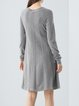 Gray Beaded Long Sleeve A-line Midi Dress