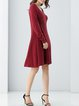 Long Sleeve Casual Crew Neck Knitted Plain Midi Dress