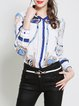 White Shirt Collar Printed Long Sleeve Blouse