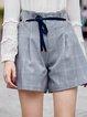Gray Checkered/Plaid Casual  Shorts