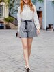 Gray Checkered/Plaid Casual  Shorts