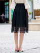 Black Casual A-line Midi Skirt