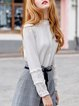 White Ruffled Long Sleeve Embroidered Blouse