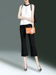 Color-block Simple Sleeveless Crew Neck Top With Pants
