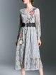 Long Sleeve V Neck A-line Midi Dress