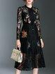 Long Sleeve Elegant A-line Embroidered Spandex Midi Dress