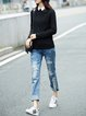 Acrylic Solid Casual Ribbed Long Sleeved Top