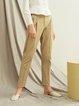Khaki Folds Casual Solid Straight Leg Pants
