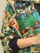 Multicolor Long Sleeve Printed Cotton Linen Top