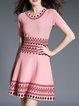 Shorts Sleeve Knitted Tribal Midi Dress