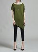 Army Green Solid Shorts Sleeve Asymmetric H-line Tunic